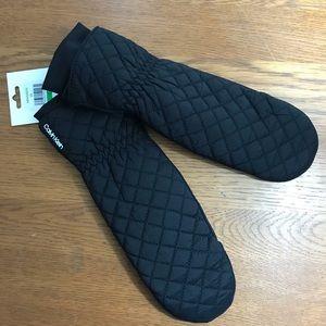 NWT Calvin Klein flip top mittens black quilted